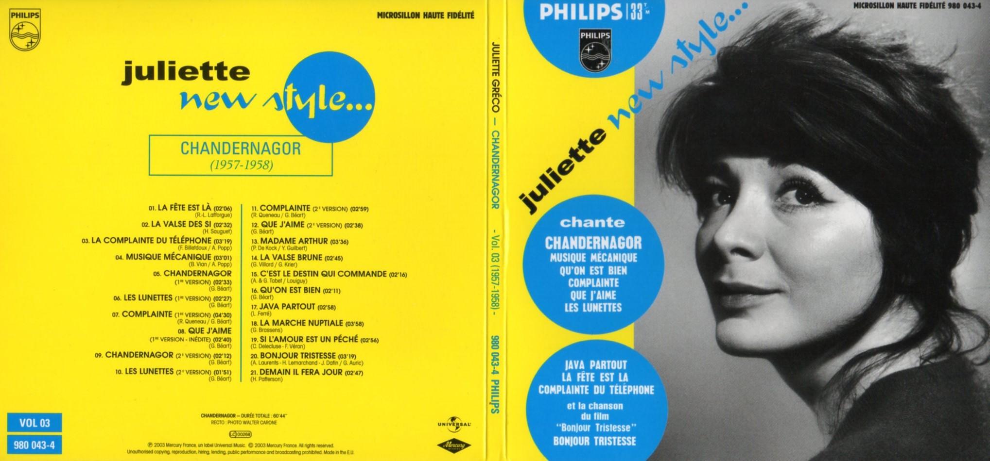 JULIETTE GRÉCO - Chandernagor (1957-1958) Gatefold Card board sleeve - CD