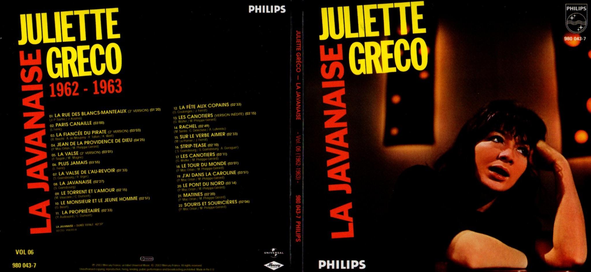 JULIETTE GRÉCO - La javanaise (1962-1963) Gatefold Card board sleeve - CD