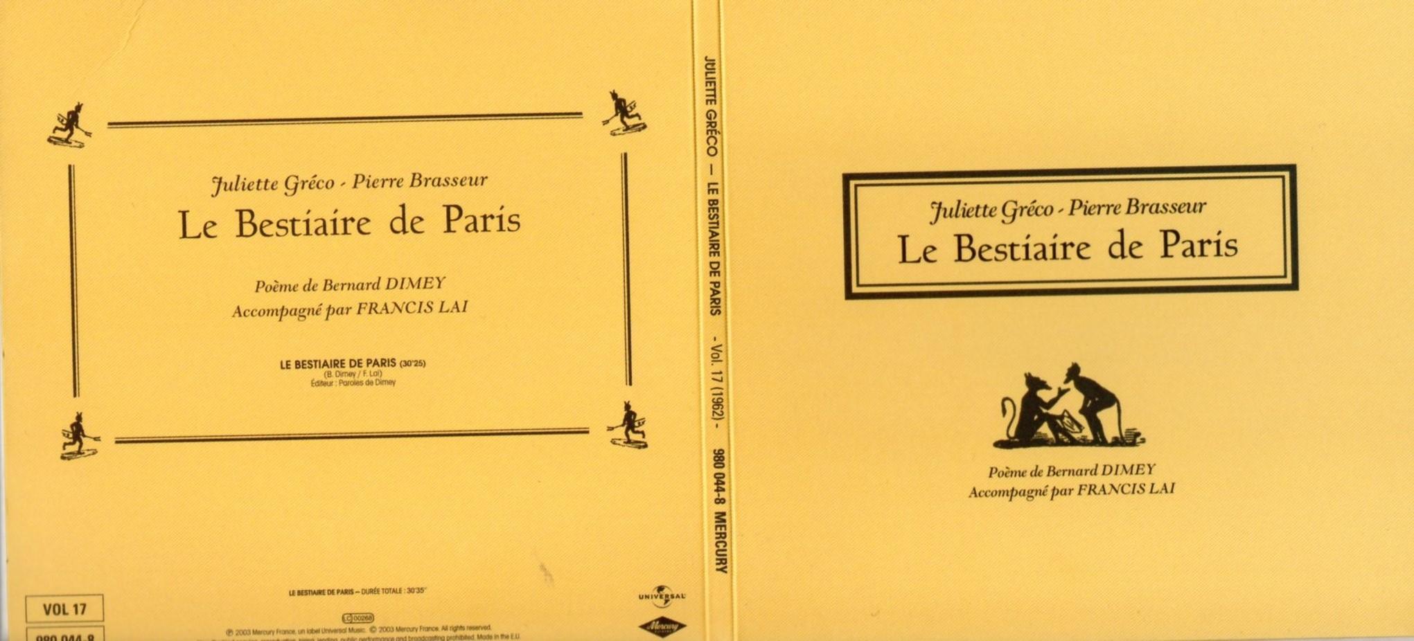 JULIETTE GRÉCO - PIERRE BRASSEUR - FRANCIS LAI - B - Le bestiare de Paris (1962) Gatefold Card board sleeve - CD