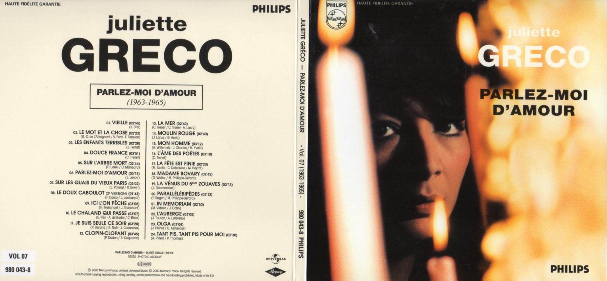 JULIETTE GRÉCO - Parlez-moi d'amour (1963-1964) Gatefold Card board sleeve - CD