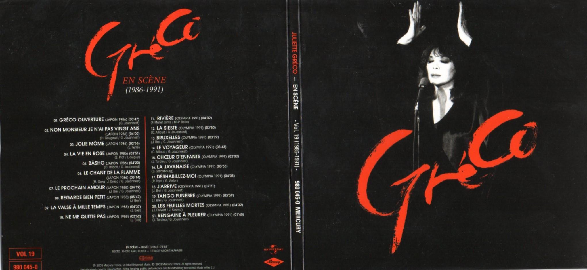 JULIETTE GRÉCO - En scène (Japon - Olympia)  (1986-1991) Gatefold Card board sleeve - CD