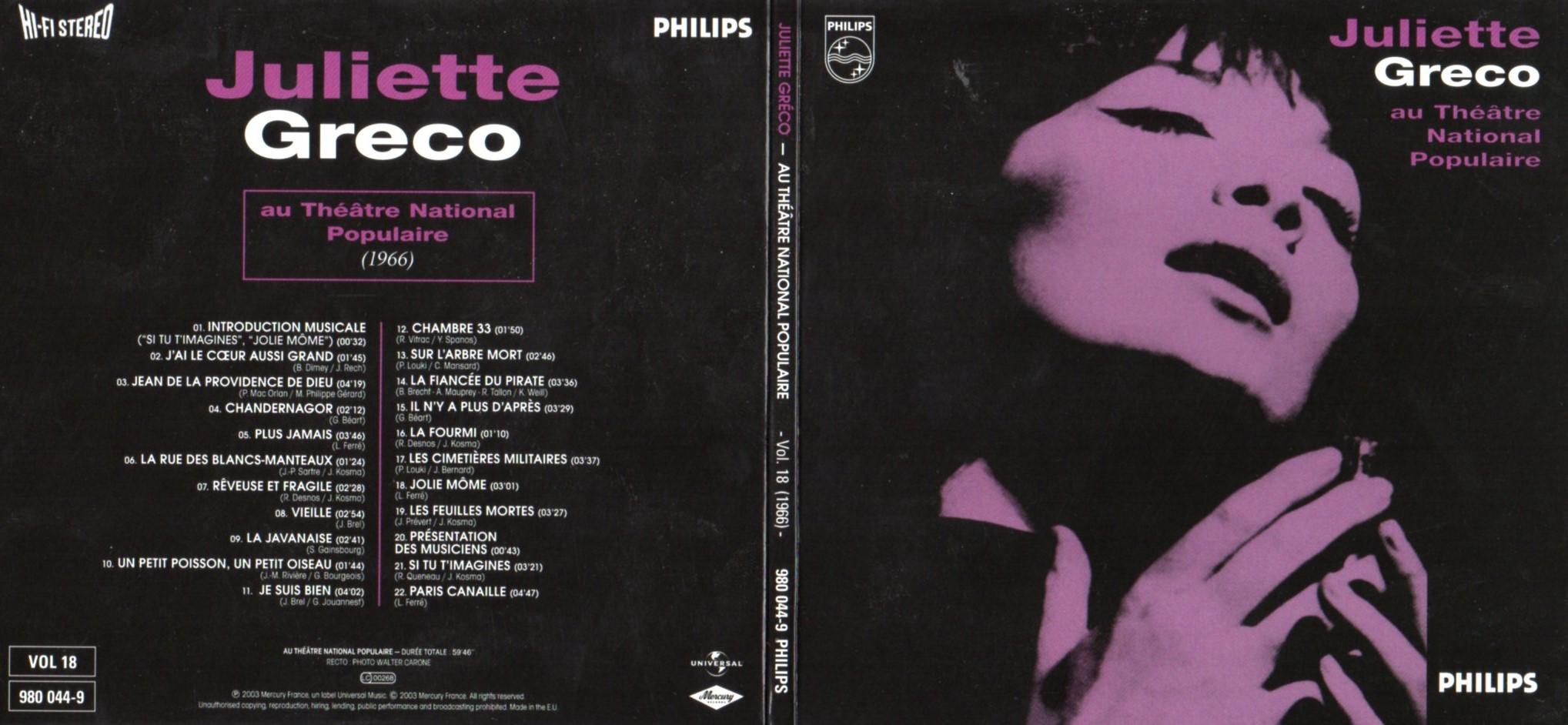 JULIETTE GRÉCO - Au théâtre National Populaire (1966) Gatefold Card board sleeve - CD