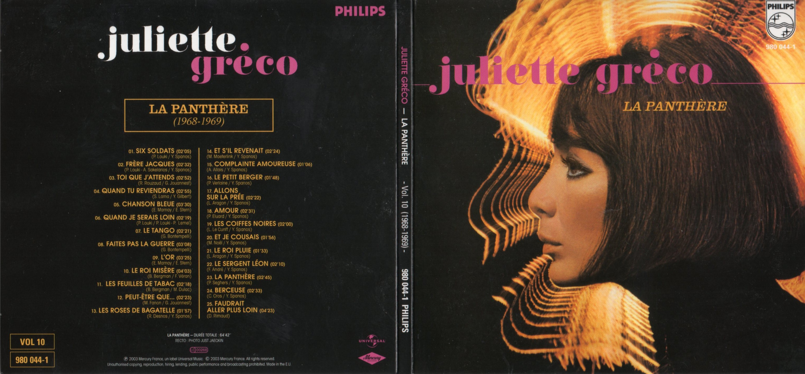 JULIETTE GRECO - La Panthère (1968-1969) Gatefold Card board sleeve - CD