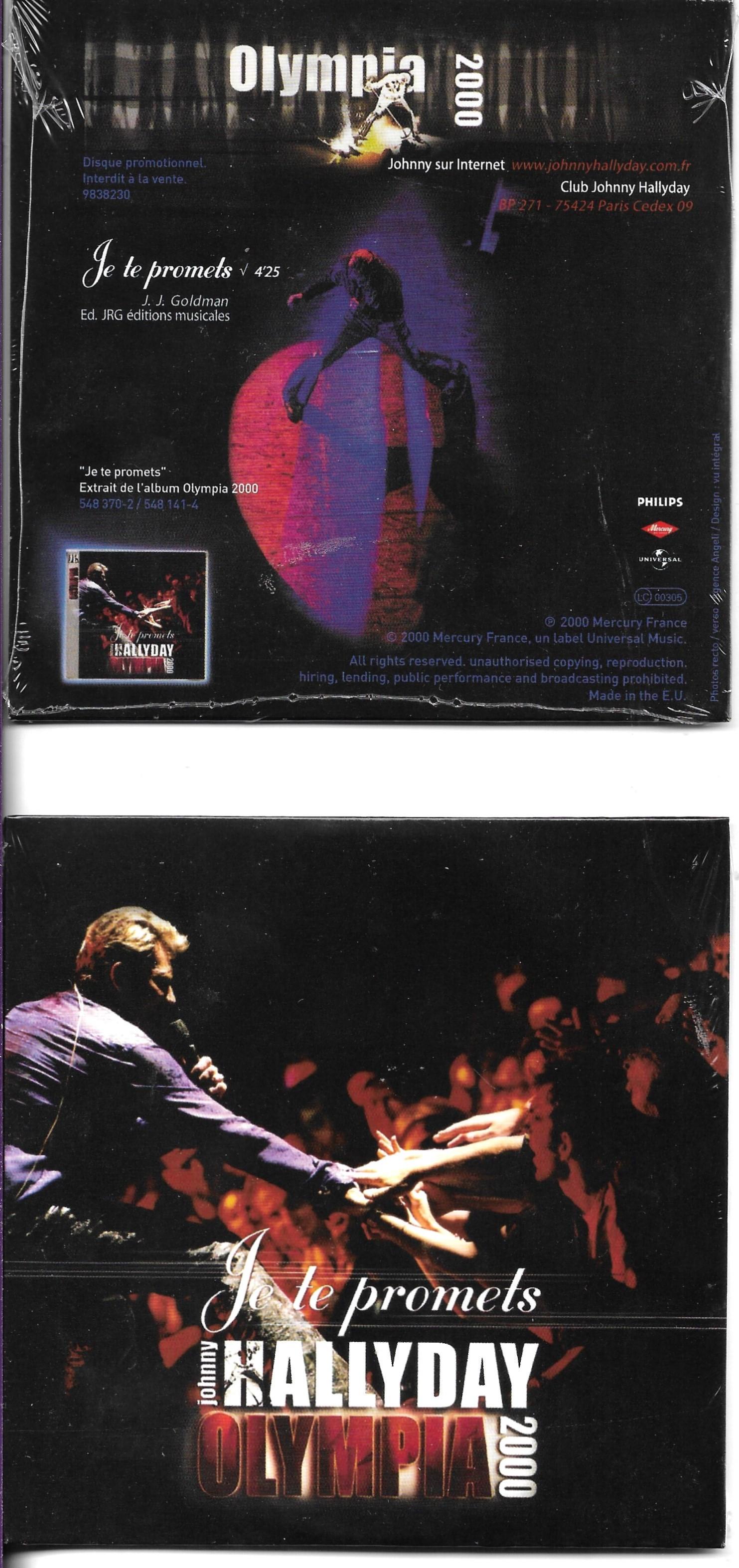 JOHNNY HALLYDAY - Je te promets (Olympia 2000) 1-Track CARD SLEEVE - CD single