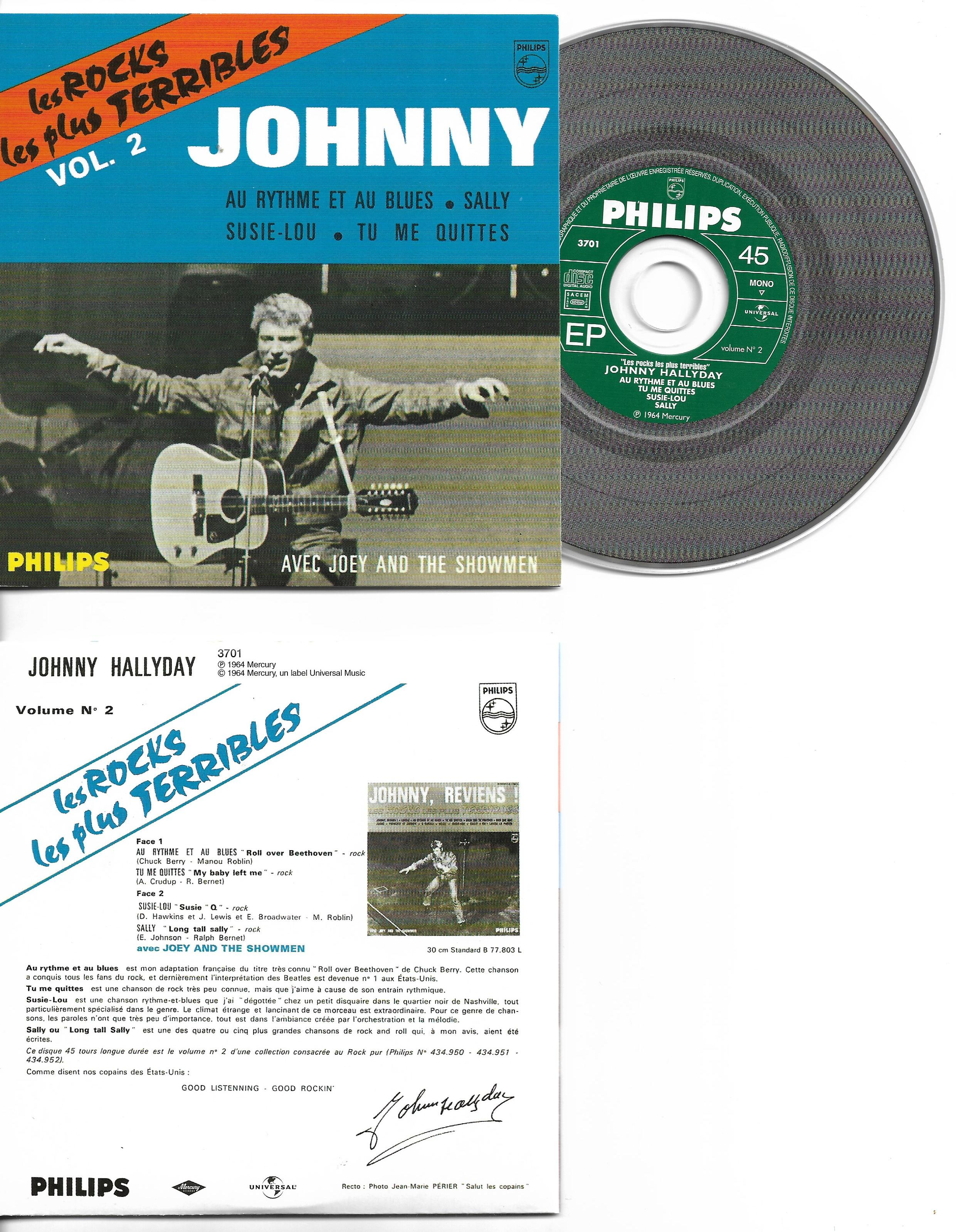 JOHNNY HALLYDAY - Les rocks les plus terribles vol 2 4-track CARD SLEEVE EP REPLICA - CD single