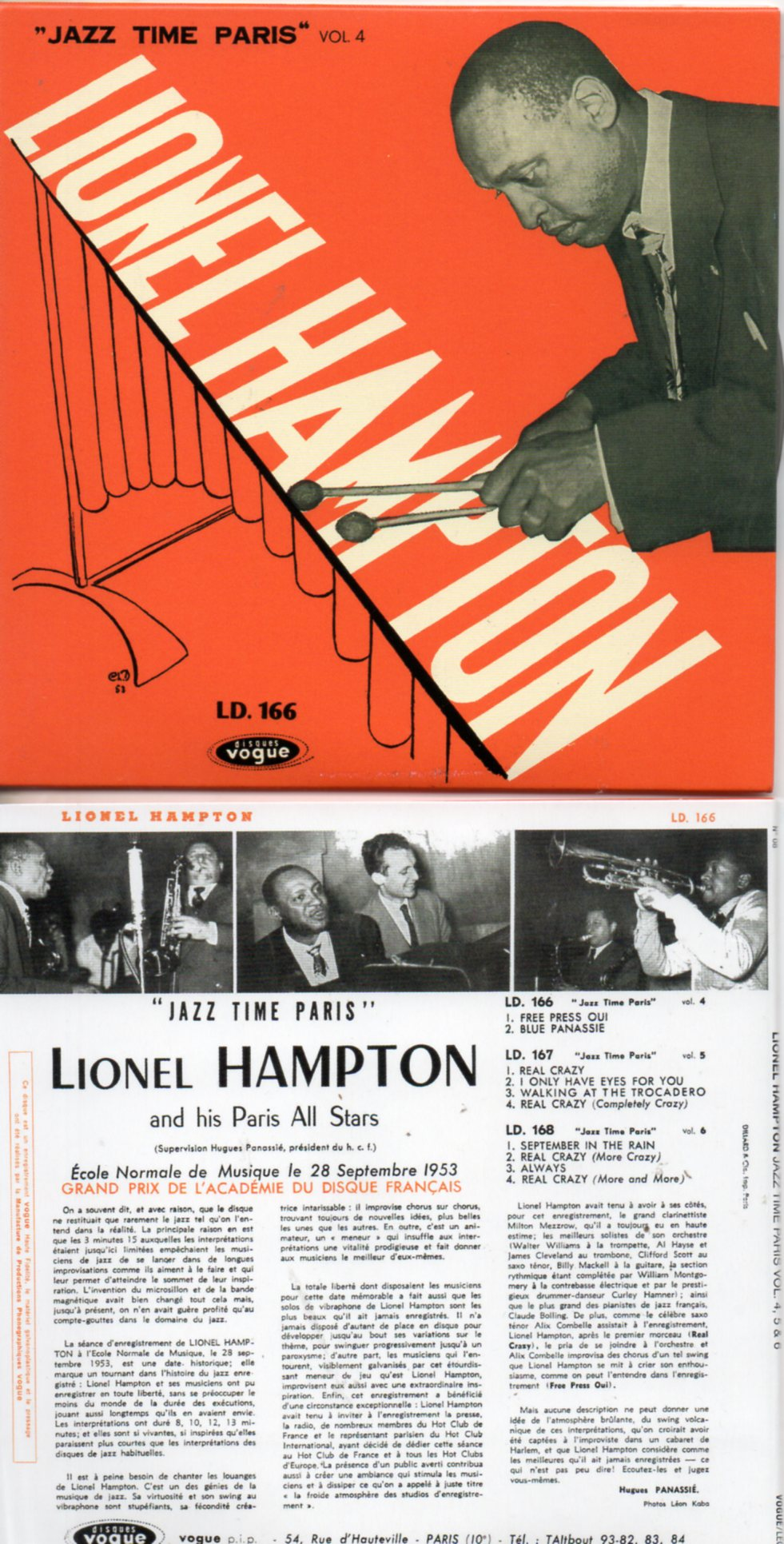 LIONEL HAMPTON - Jazz Time Paris Vol. 4, 5 & 6 (1953) - MINI LP REPLICA CARD SLEEVE - 10-TRACK - CD