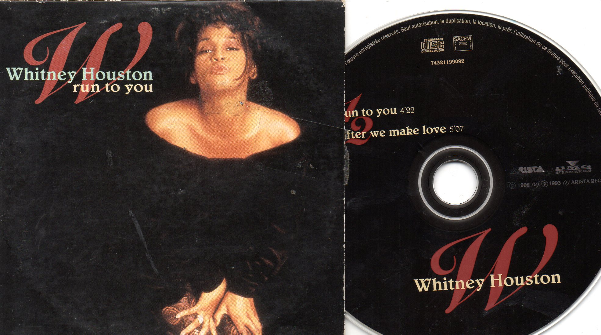 WHITNEY HOUSTON - Run to you 2-track CARD SLEEVE - CD single