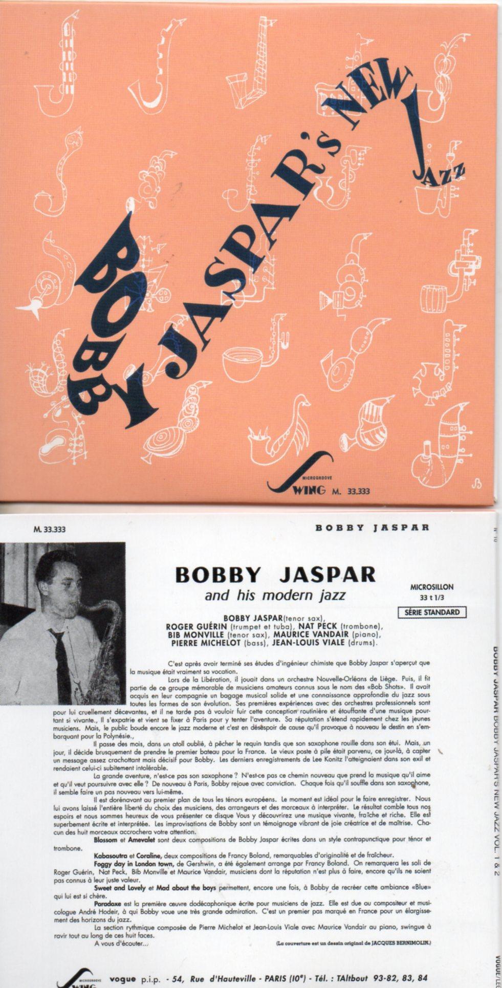 BOBBY JASPAR - Bobby Jaspar's New Jazz Vol. 1 & Vol. 2 (1954) - MINI LP REPLICA CARD SLEEVE - 16-TRACK - CD