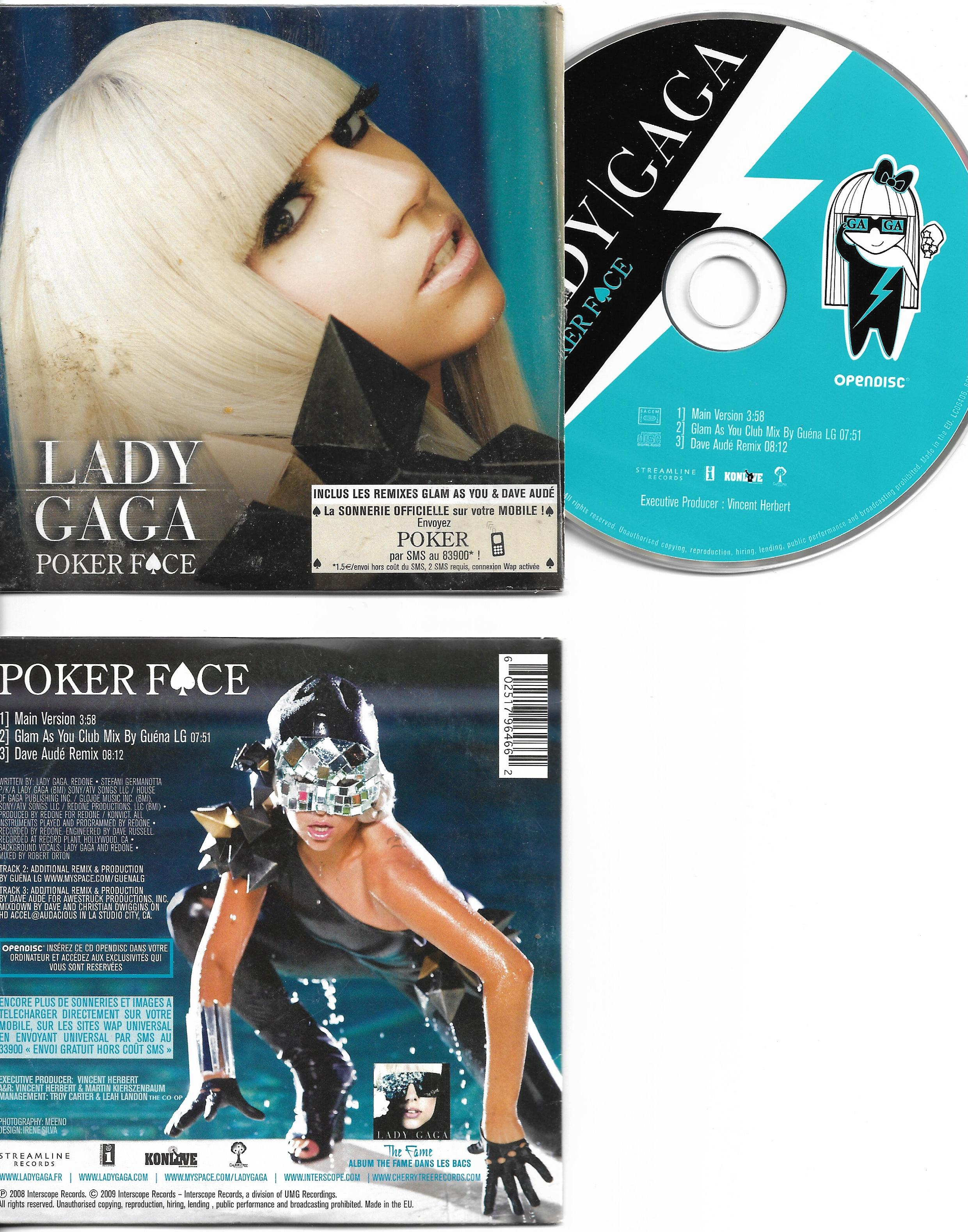 LADY GAGA - Poker face CARD SLEEVE 3 tracks - France - - CD single