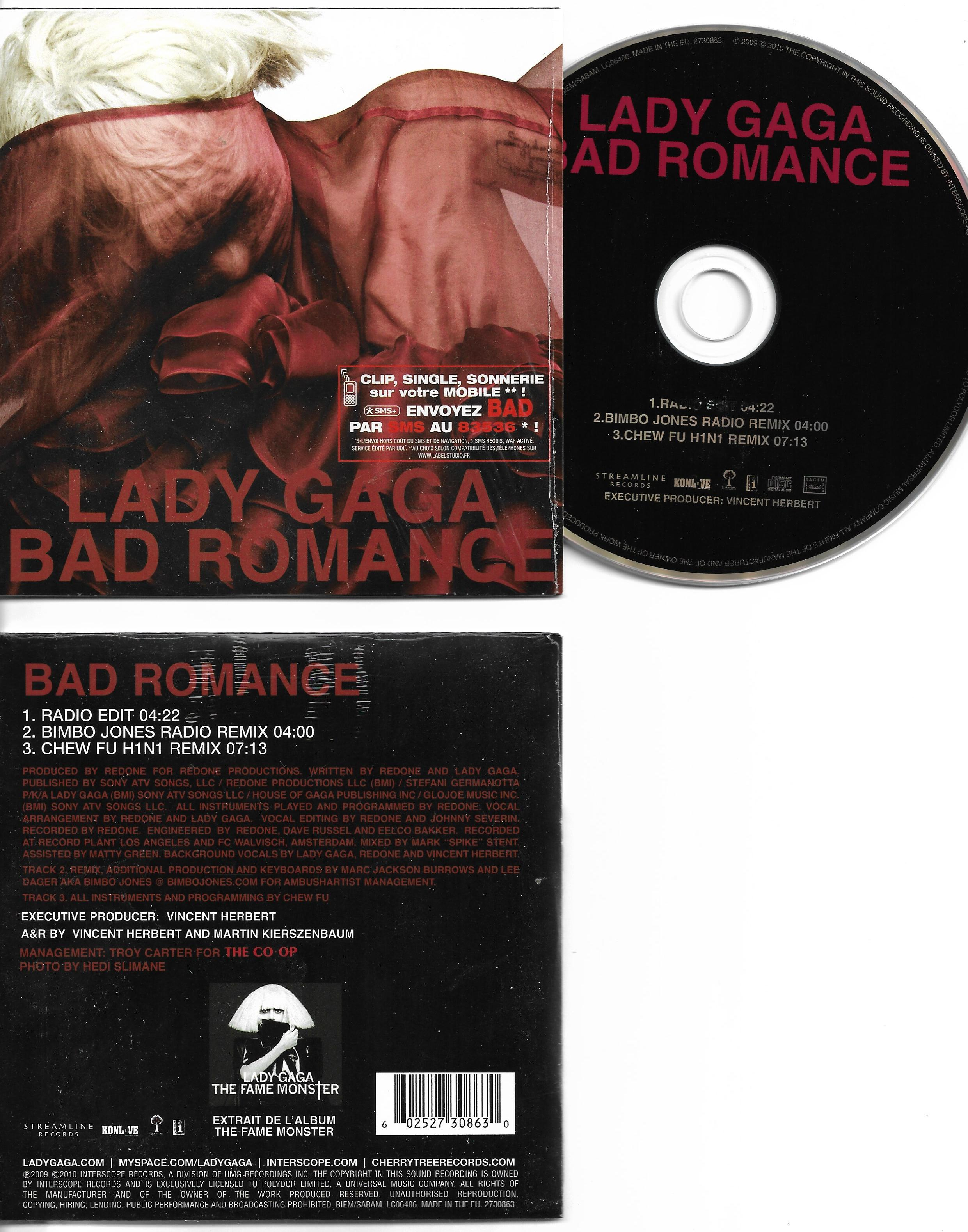 LADY GAGA - Bad romance CARD SLEEVE 3-track - CD single