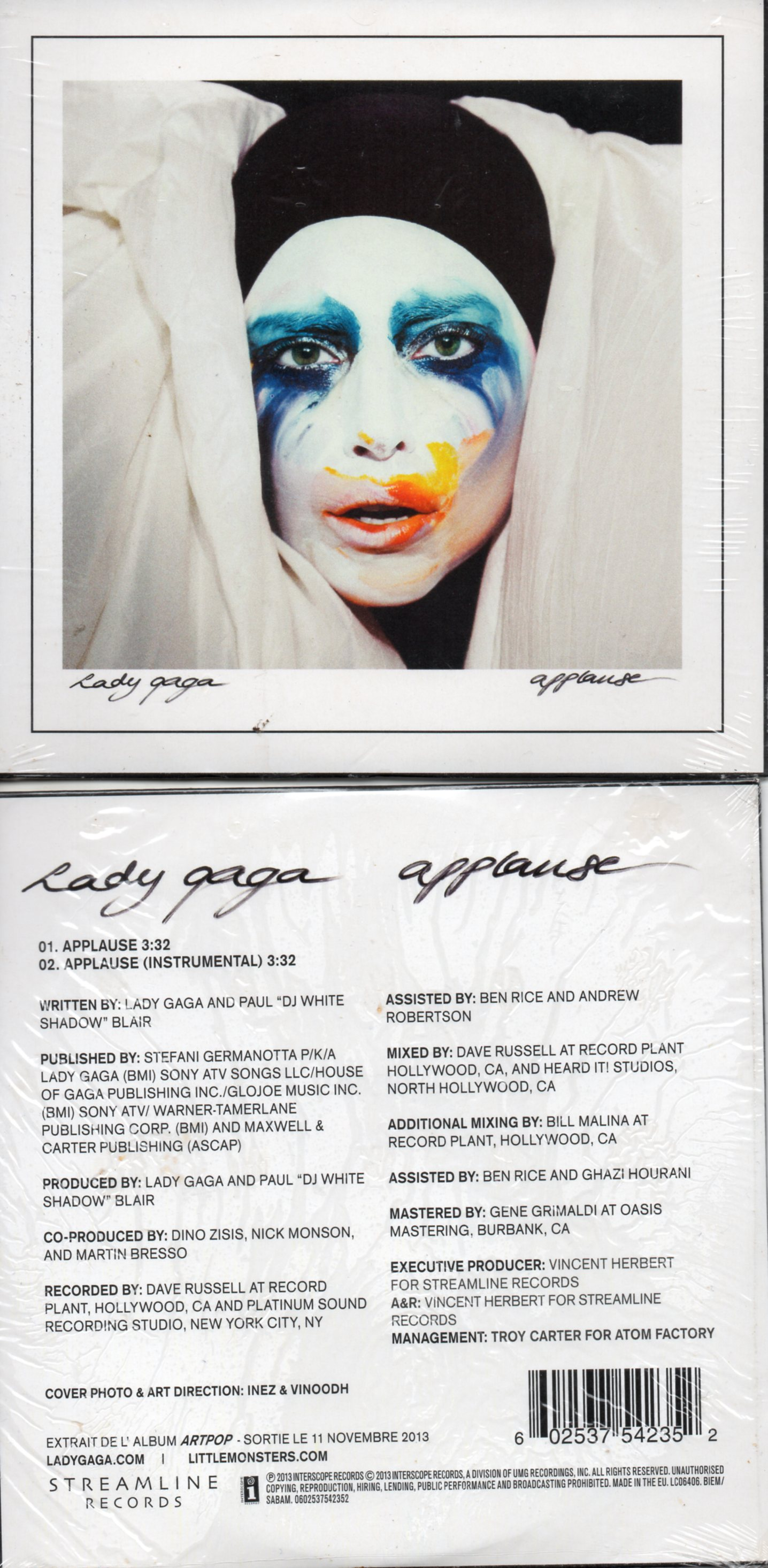 LADY GAGA - Applause 2-track CARD SLEEVE - CD single