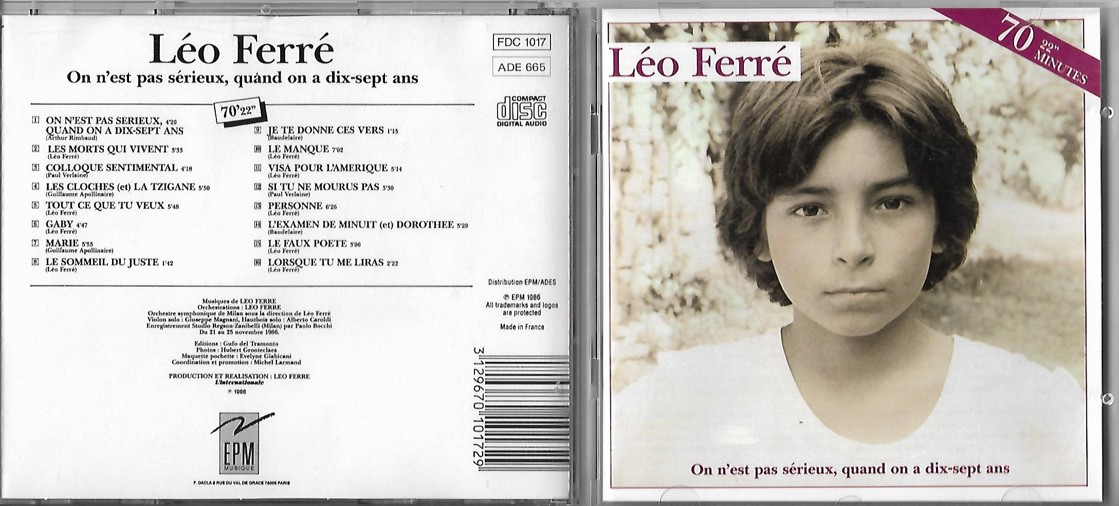LÉO FERRÉ - Thank You Satan en Public à L'Alhambra 1961 - CD