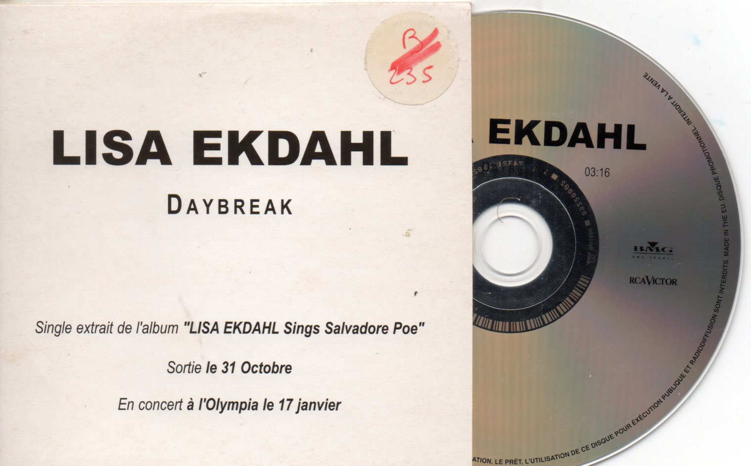 LISA EKDAHL - Daybreak French Promo 1-track CARD SLEEVE - CD single
