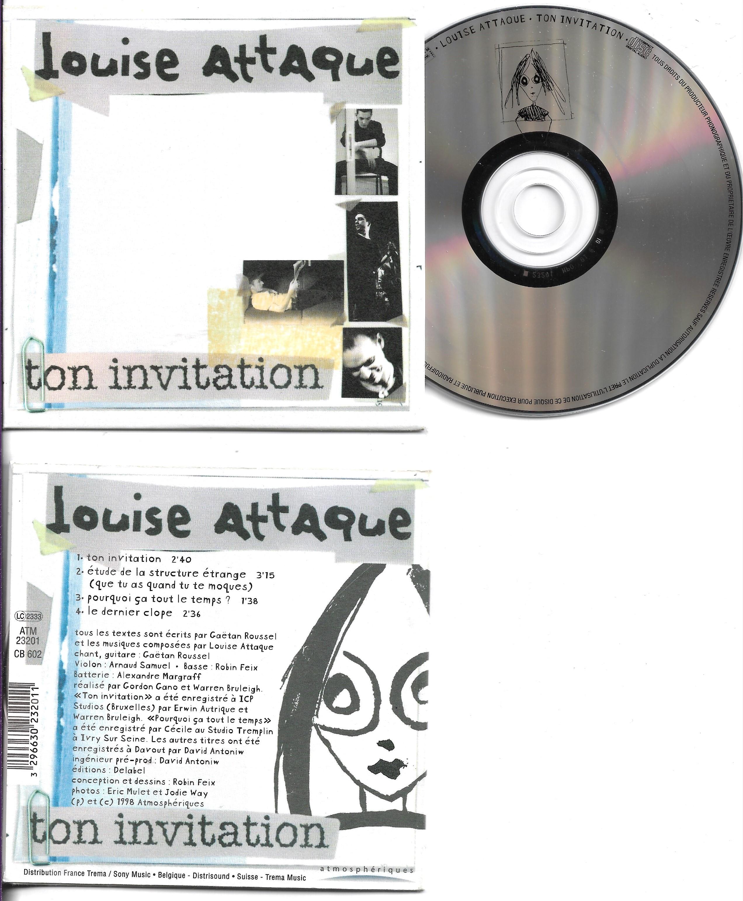 LOUISE ATTAQUE - Ton invitation 4-Track CARD SLEEVE - CD single