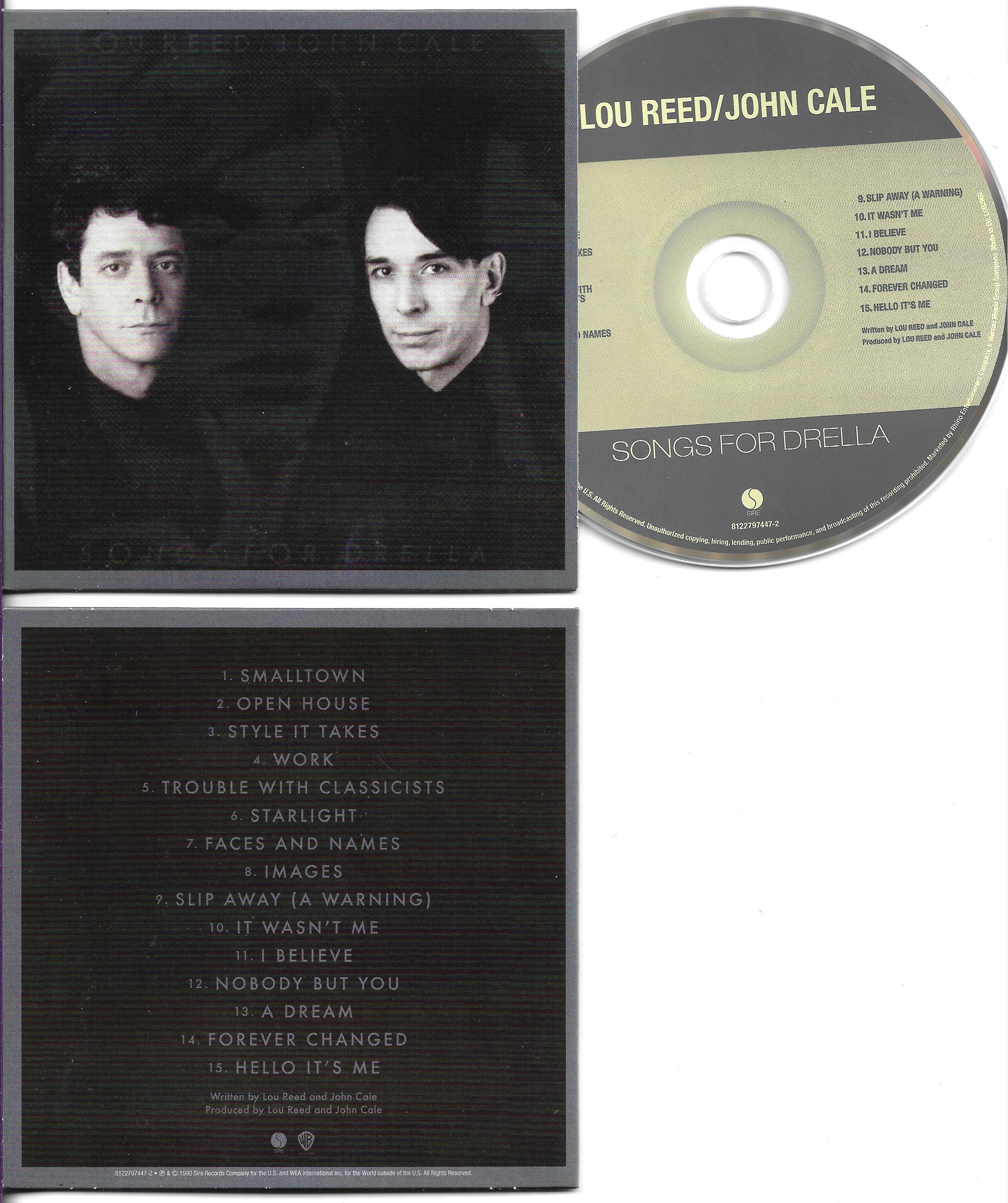 Lou REED & John CALE - Songs For Drella - Mini Lp Replica - 15-track Card Sleeve