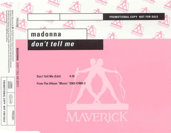 MADONNA - Don't Tell Me Promo 1 Track Jewel Case