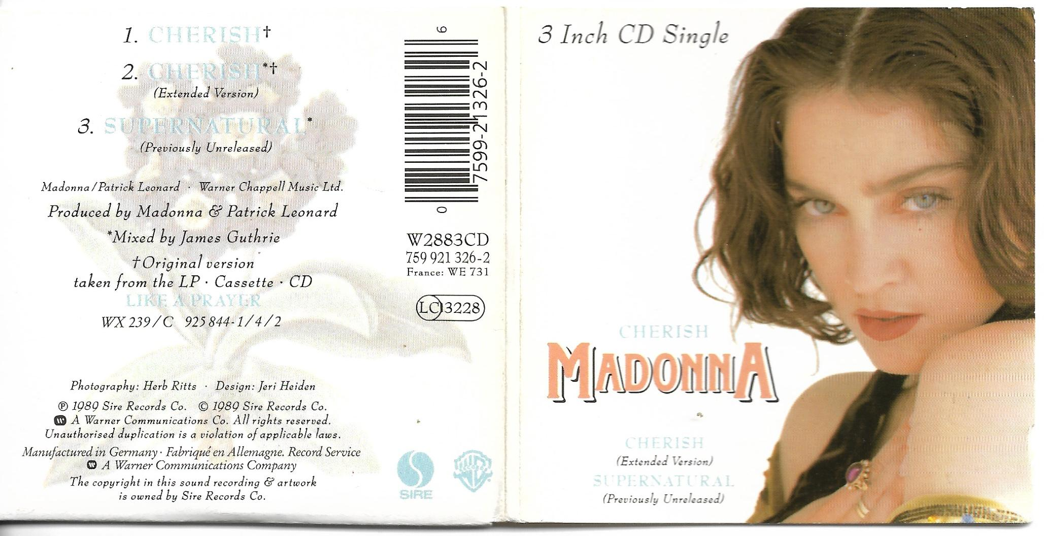 MADONNA - Cherish 3-track 3&quot; Card Sleeve
