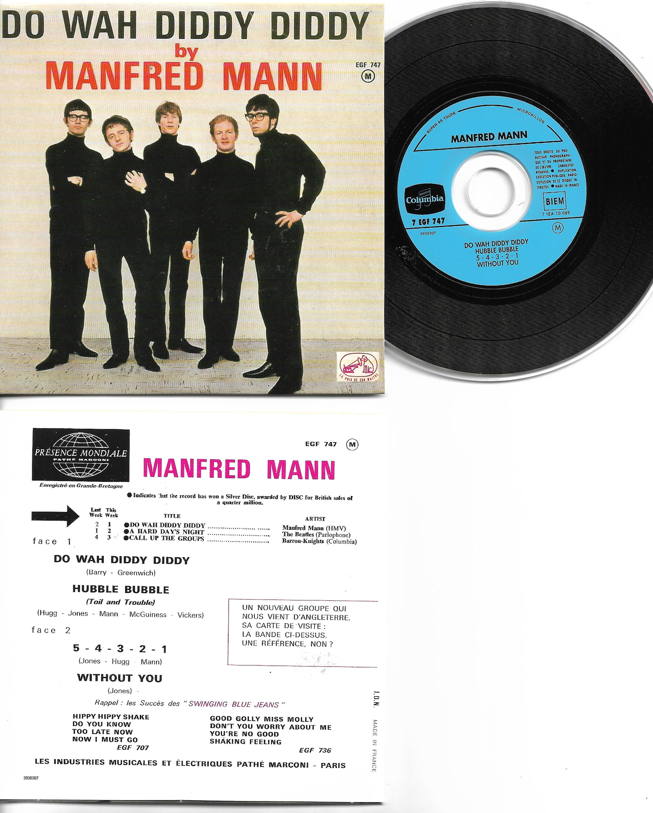 MANFRED MANN - Do wah diddy diddy 4-track CARD SLEEVE - French sleeve - CD single