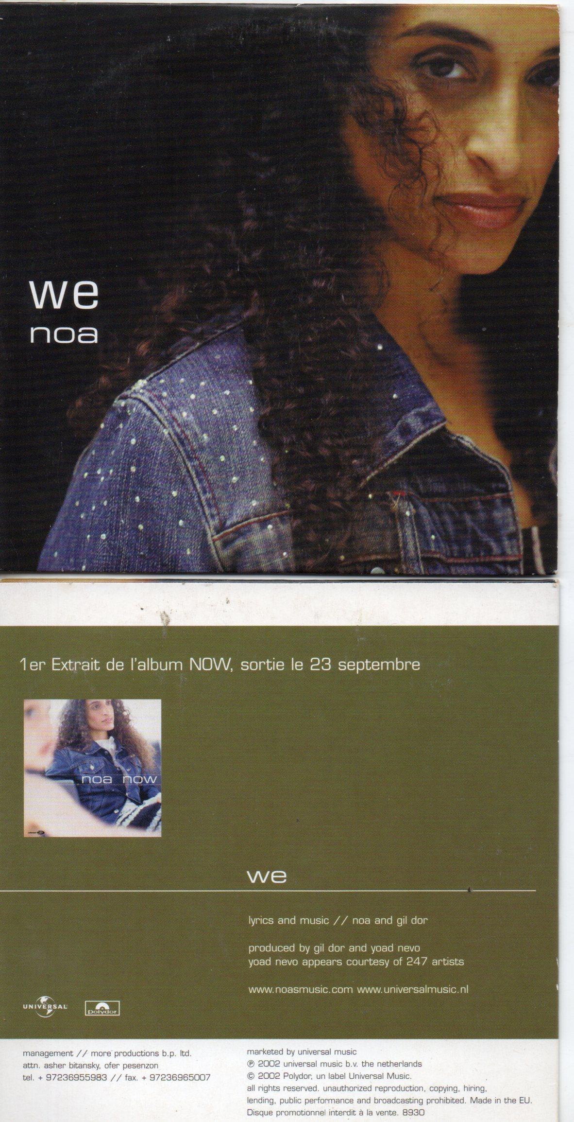 NOA - We Promo 1 track CARD SLEEVE - CD single