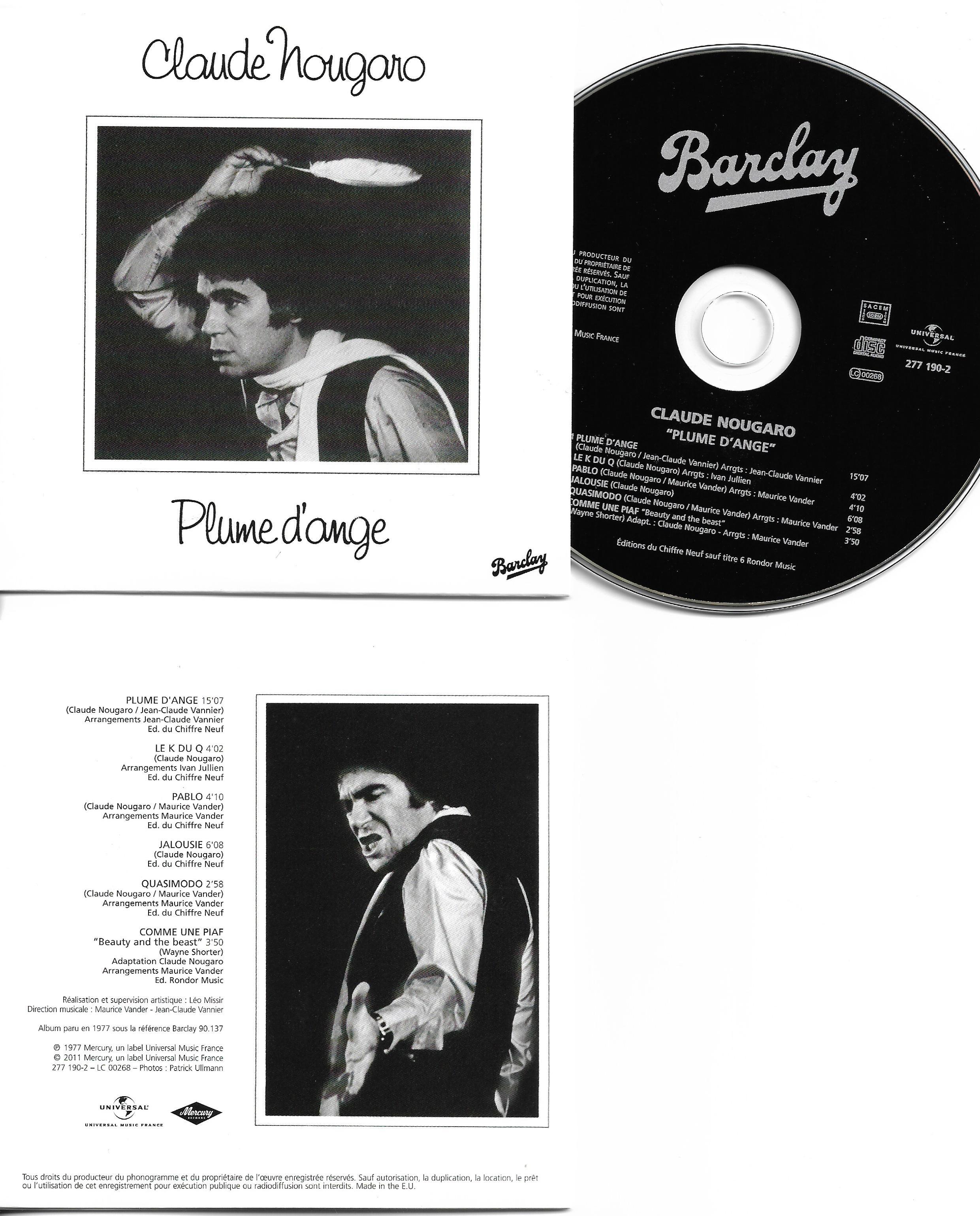 CLAUDE NOUGARO - Plume d'ange MINI LP REPLICA CARD SLEEVE - 6-TRACK - CD