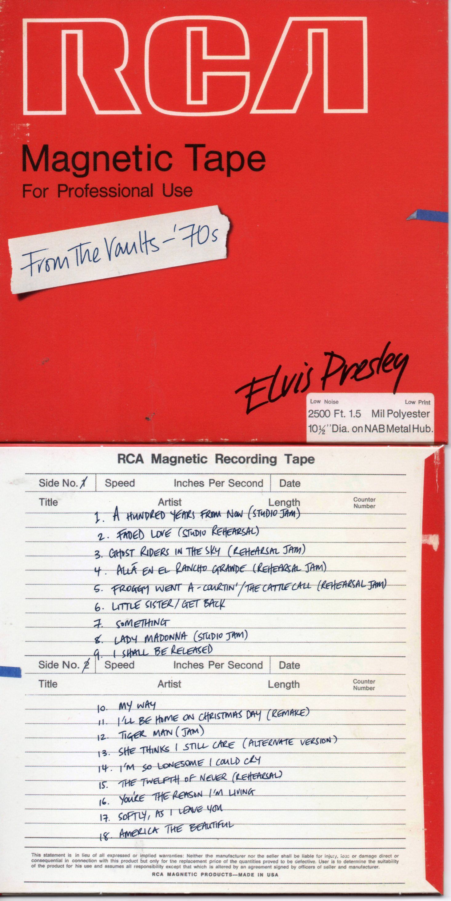 Elvis PRESLEY - From The Vaults '70s - Cardboard Sleeve - 18-track Rare Tracks