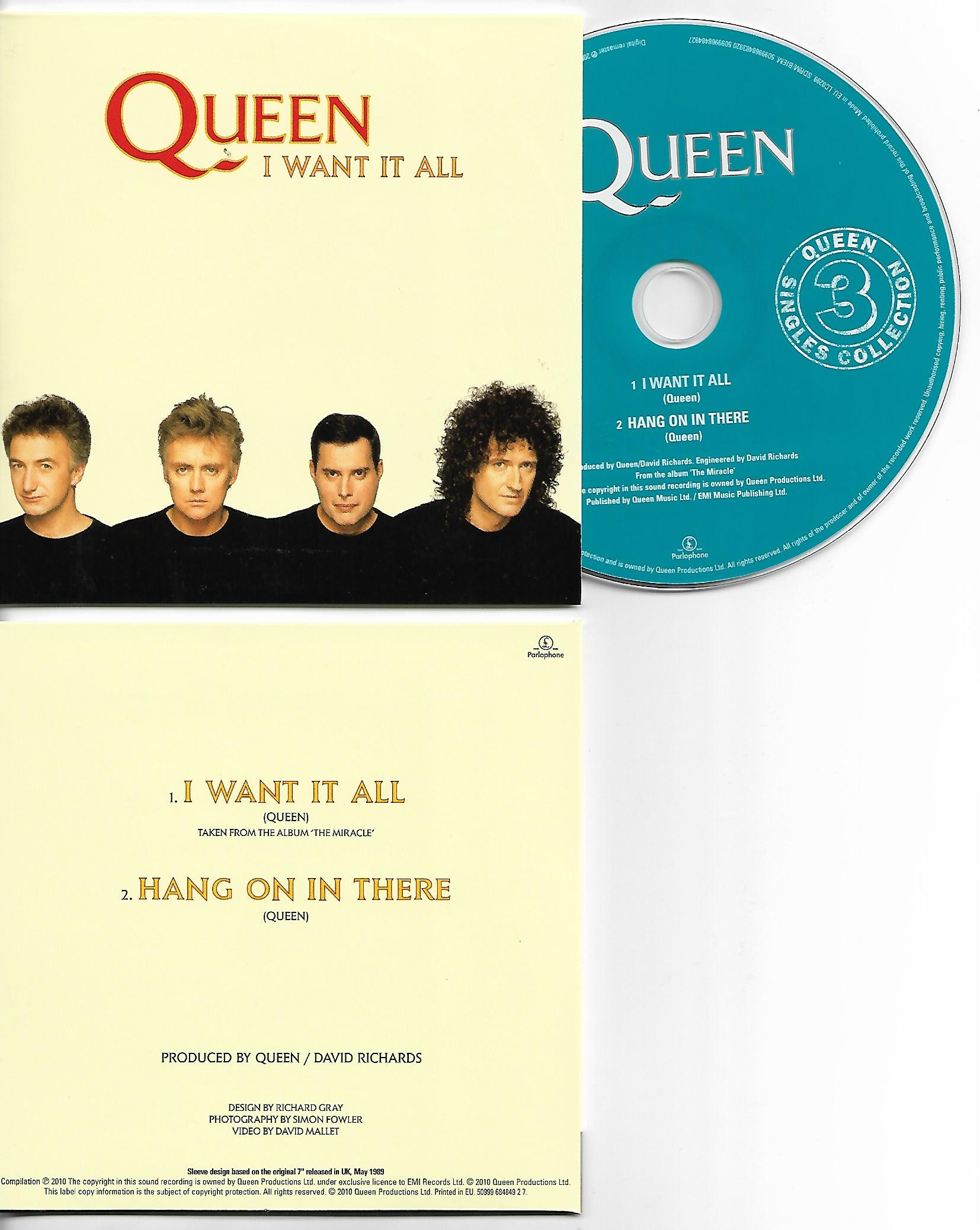 QUEEN - I Want It All + Uk + 2-track Card Sleeve - Reedition Du 45t Original - - Reissue Of Original 7""