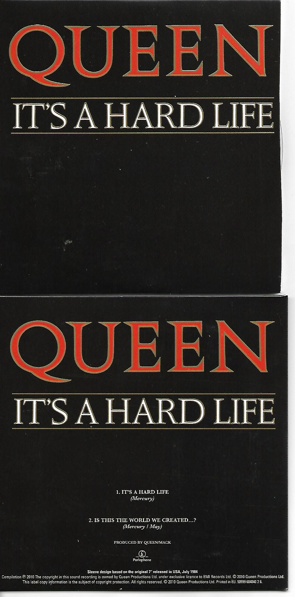 QUEEN - It's Hard Life + Usa + 2-track Card Sleeve - Reedition Du 45t Original - - Reissue Of Original 7&quo