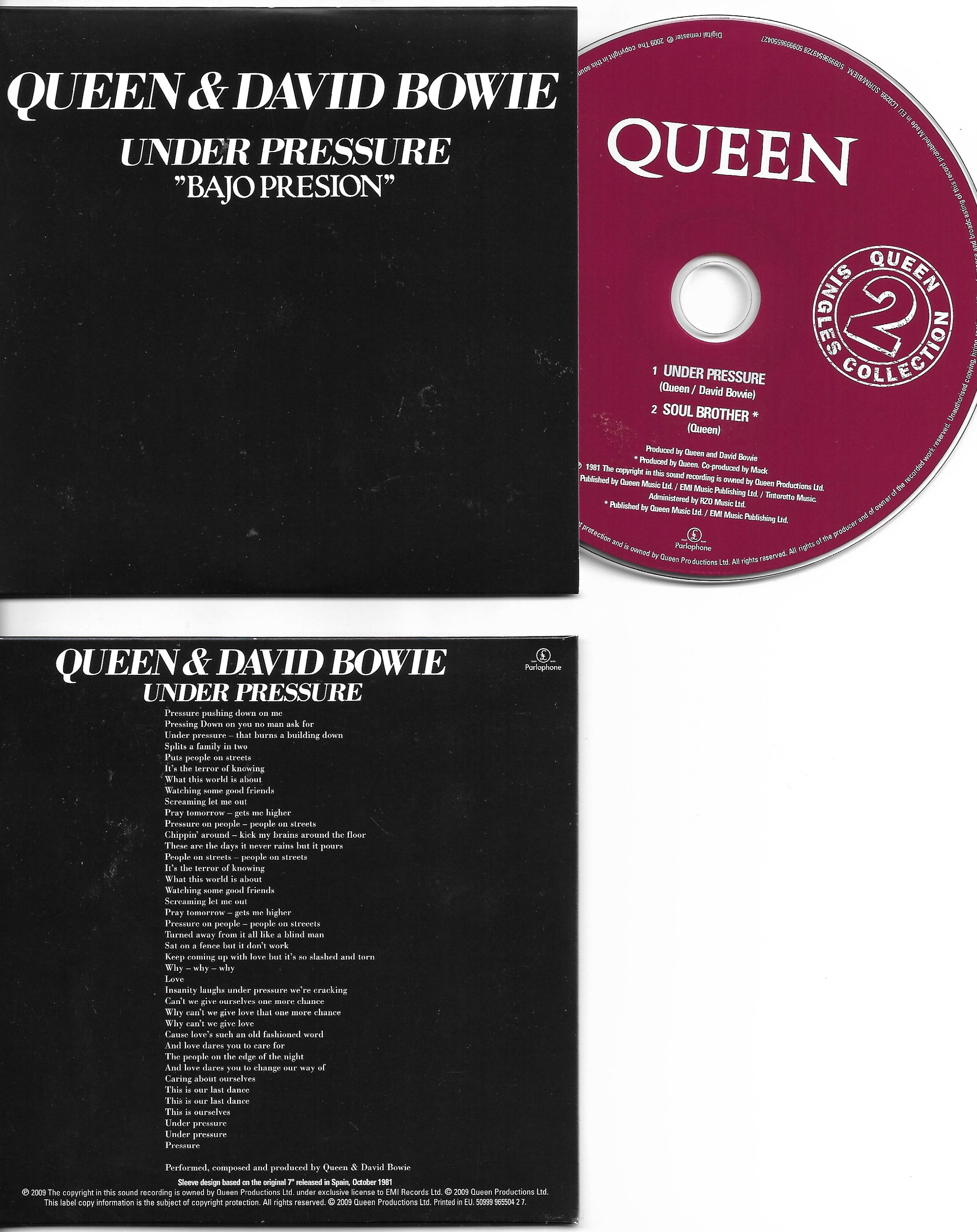 QUEEN & David BOWIE - Under Pressure + Spain + 2-track Card Sleeve - Reedition Du 45t Original - - Reissue Of Original 7&q