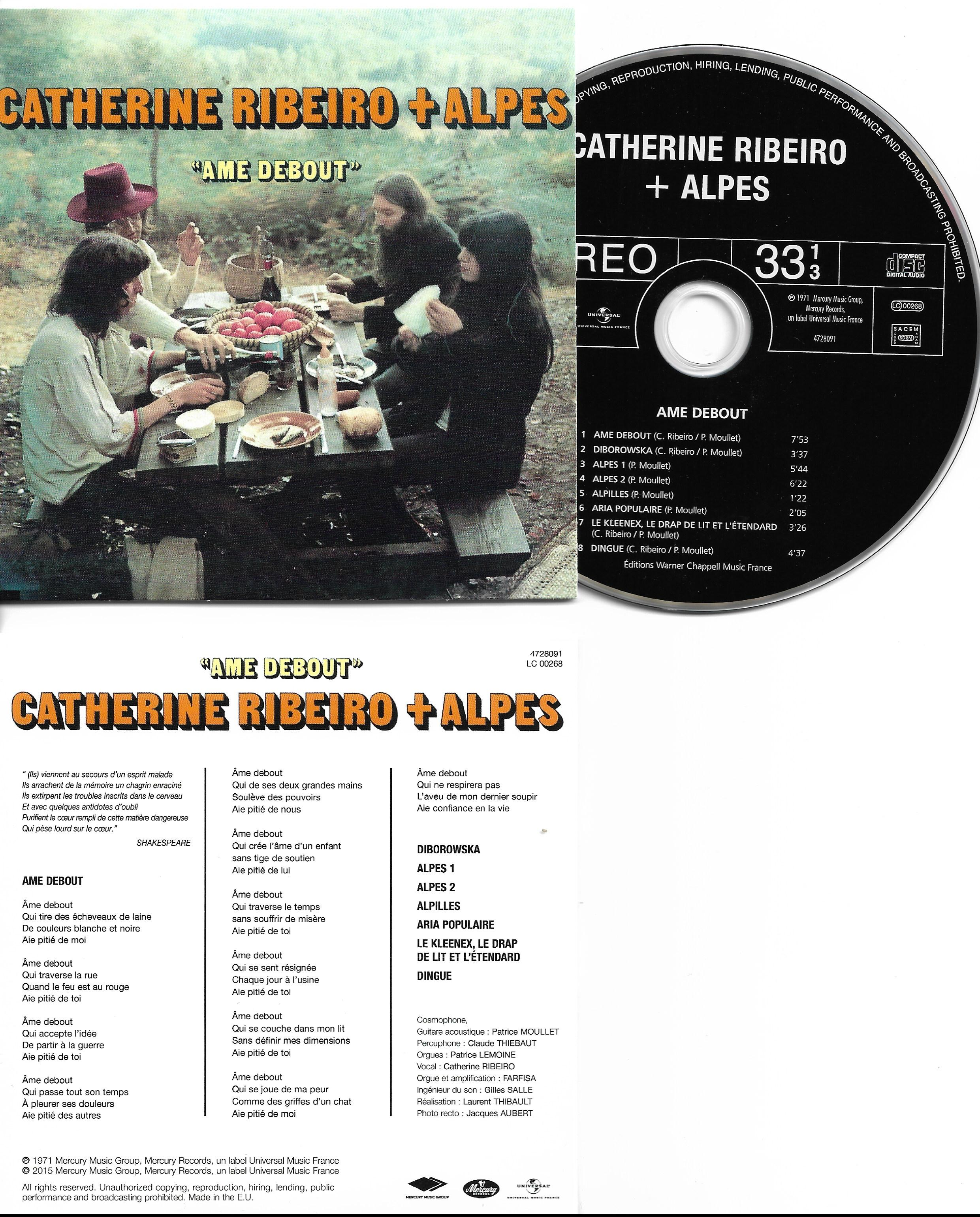 CATHERINE RIBEIRO + ALPES - Ame Debout - MINI LP REPLICA CARD SLEEVE -8 -TRACK - CD