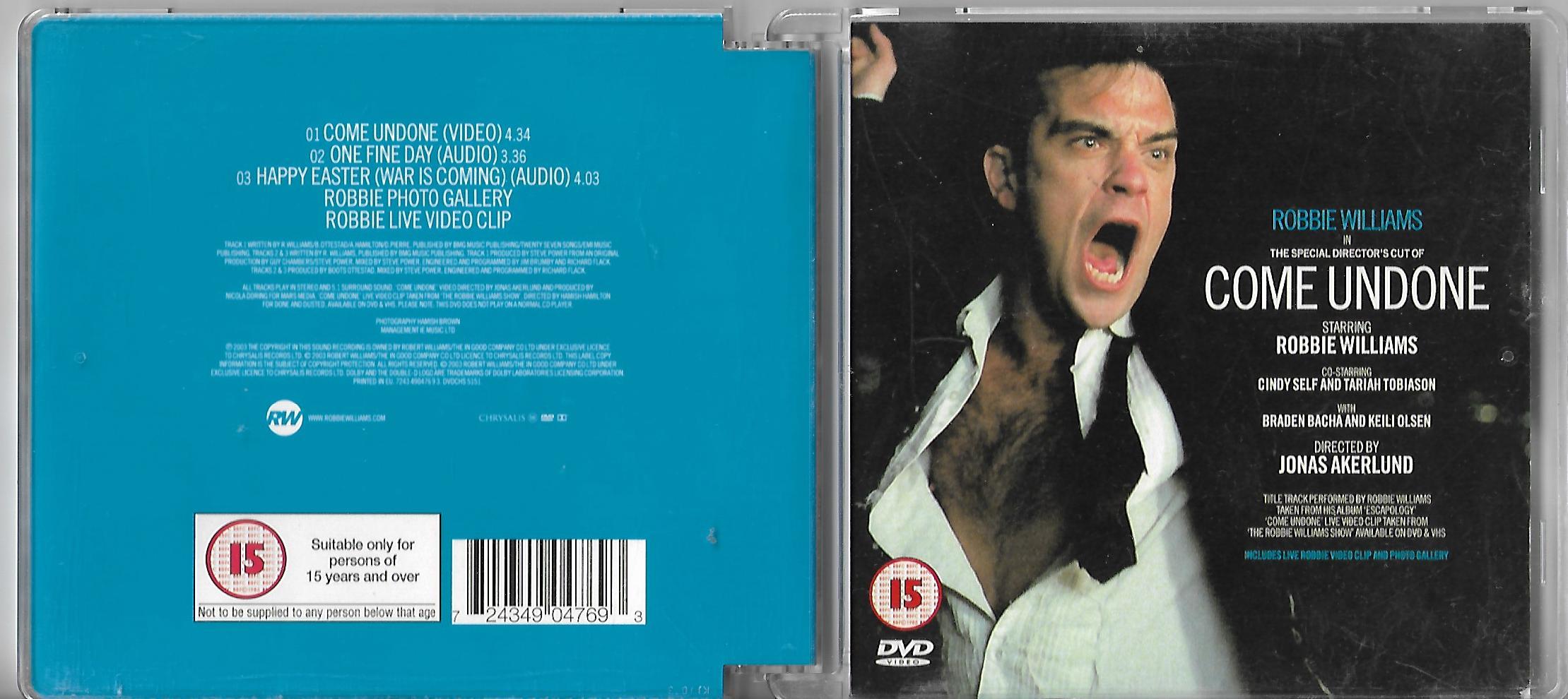 Robbie WILLIAMS - Come Undone 3 Tracks Gallery And Video Clip