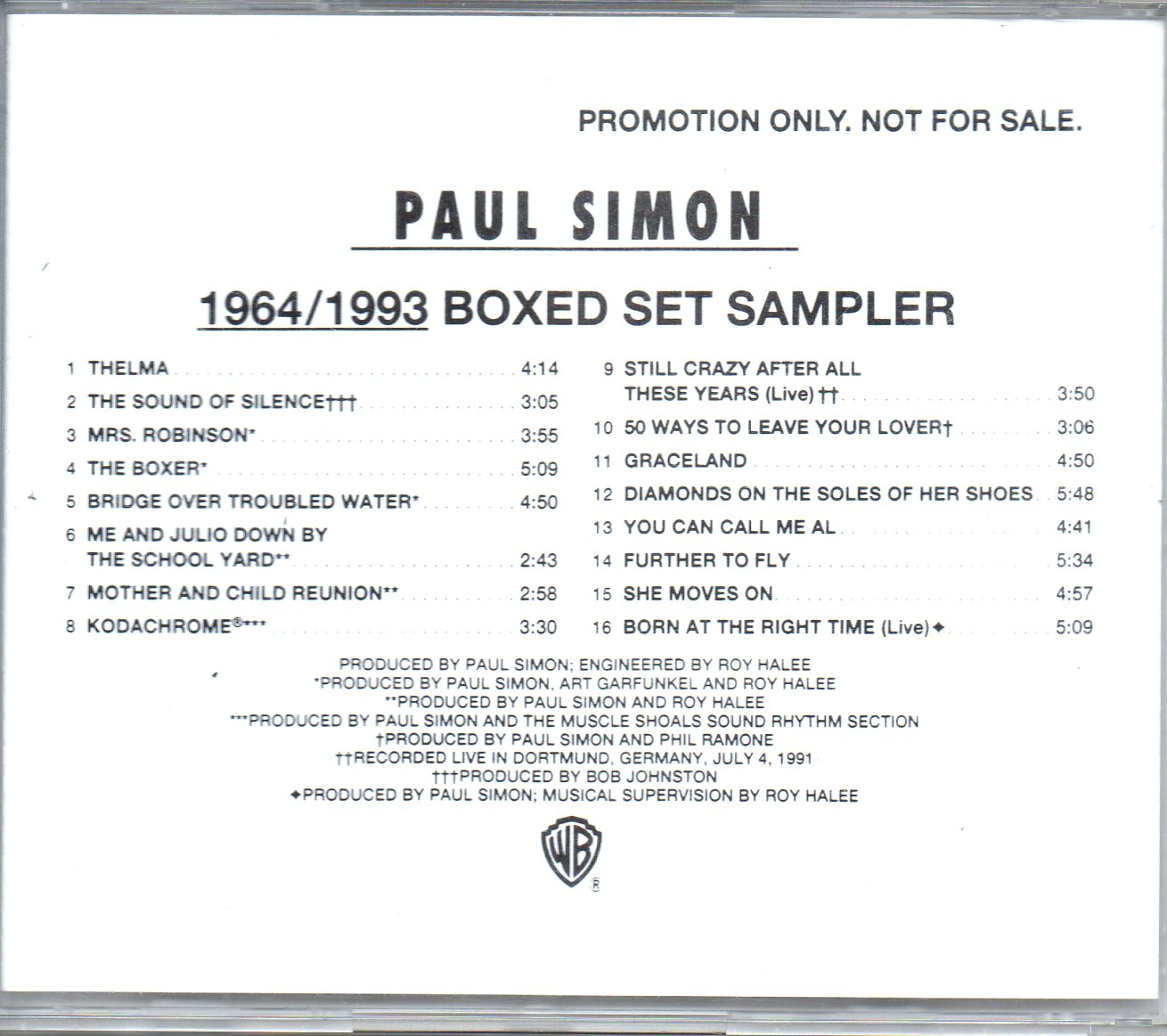 PAUL SIMON - 1964/1993 Boxed Set Sampler - CD