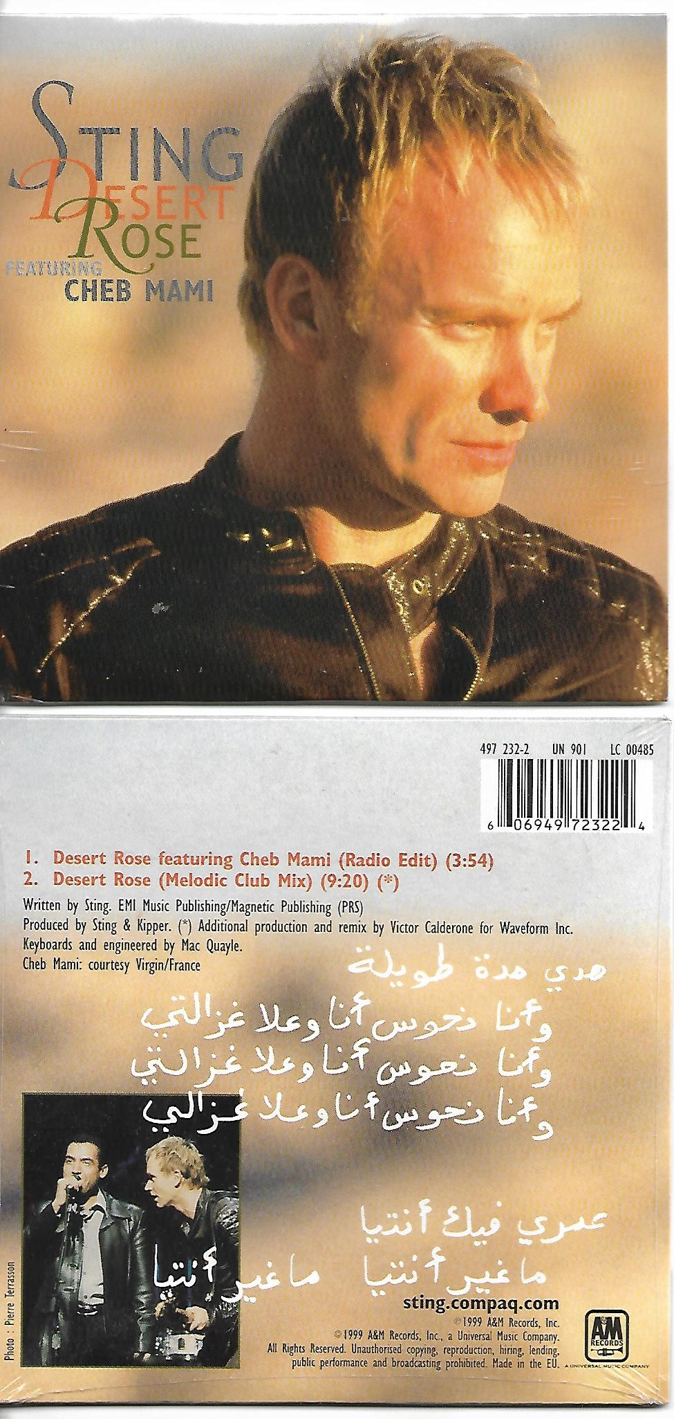 STING & Cheb Mami - Desert Rose 2-track Card Sleeve