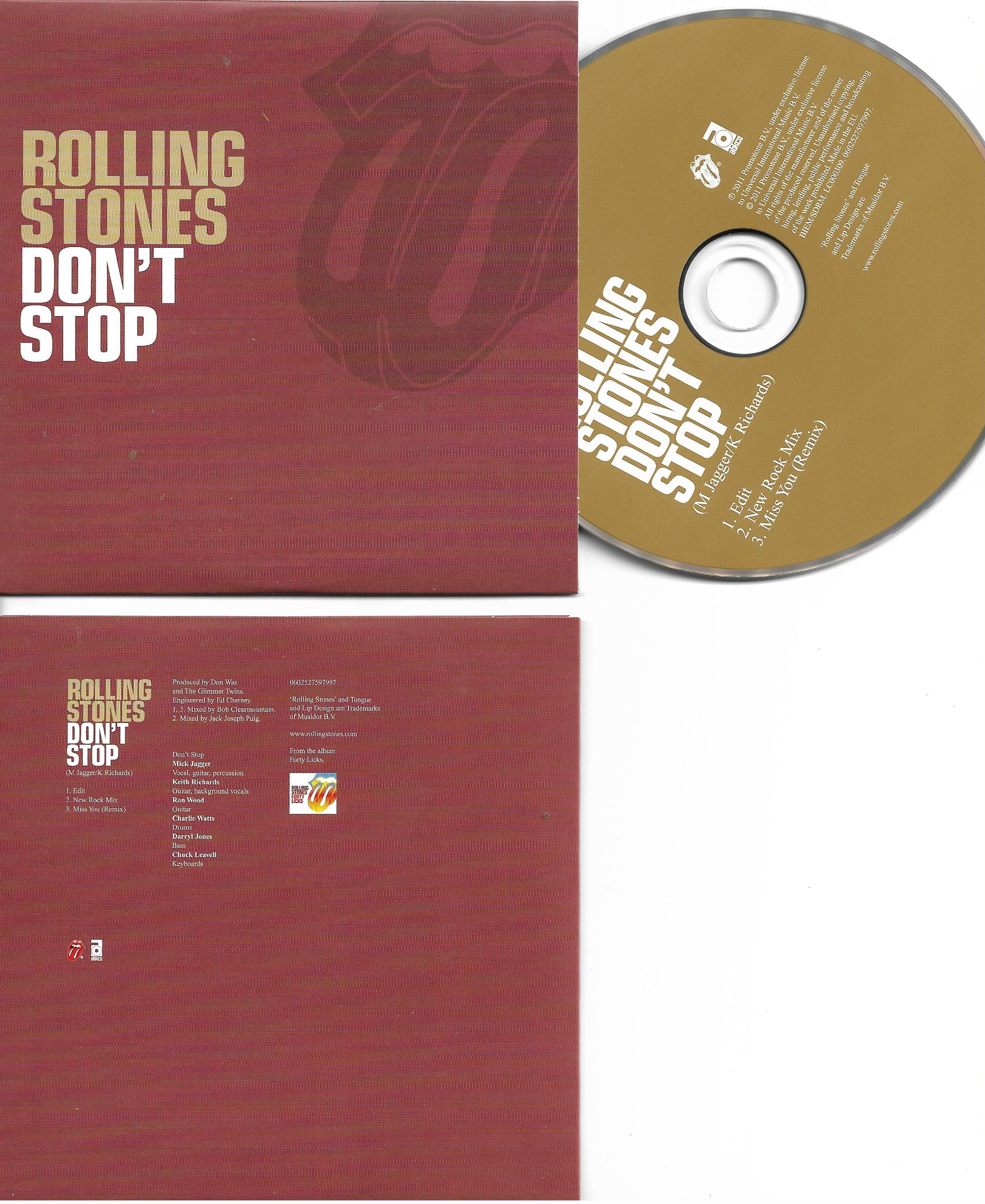 THE ROLLING STONES - Don't stop - Miss you - REMIX - 3-Track CARD SLEEVE - CD single