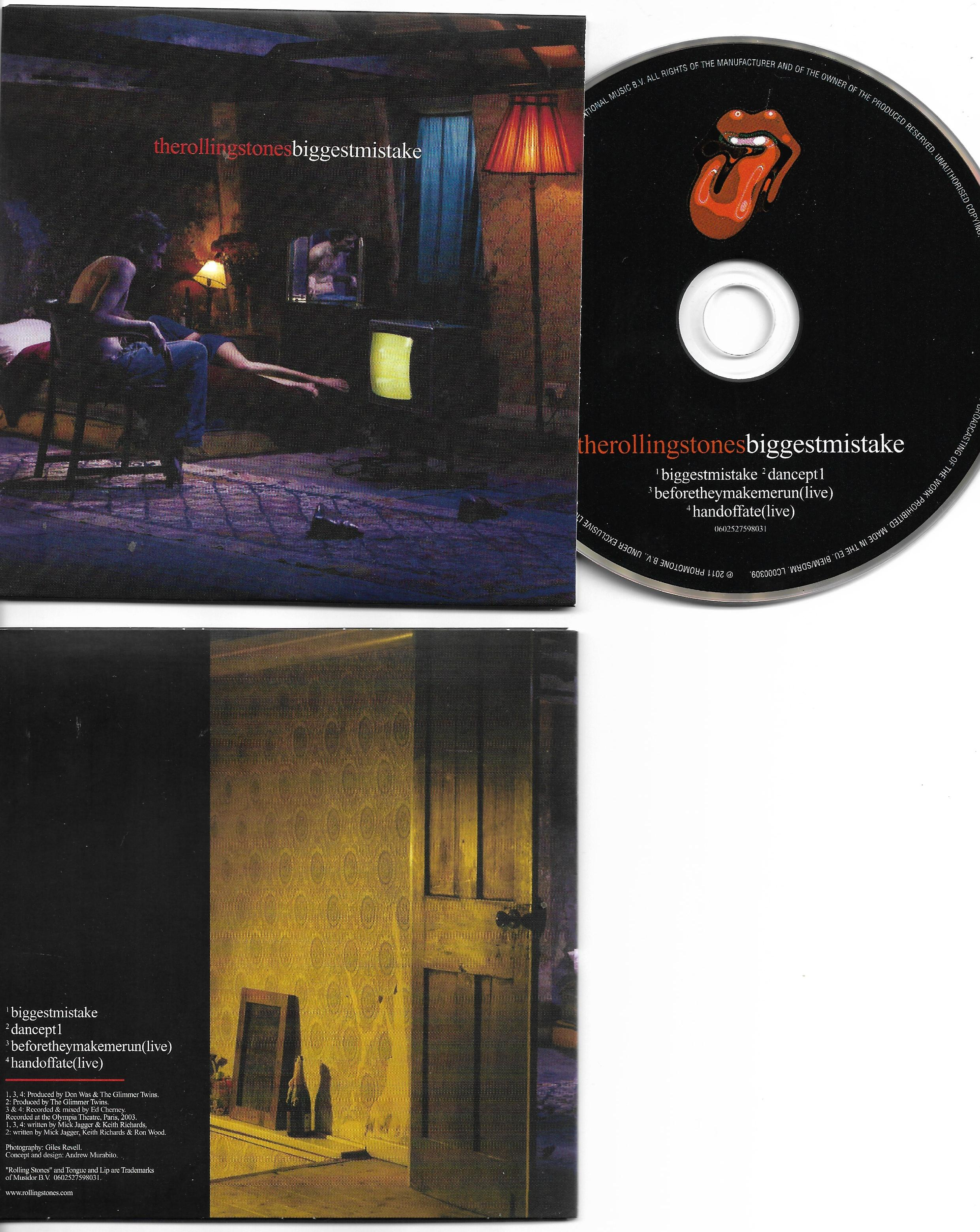 THE ROLLING STONES - Biggest mistake 4-Track CARD SLEEVE - CD single