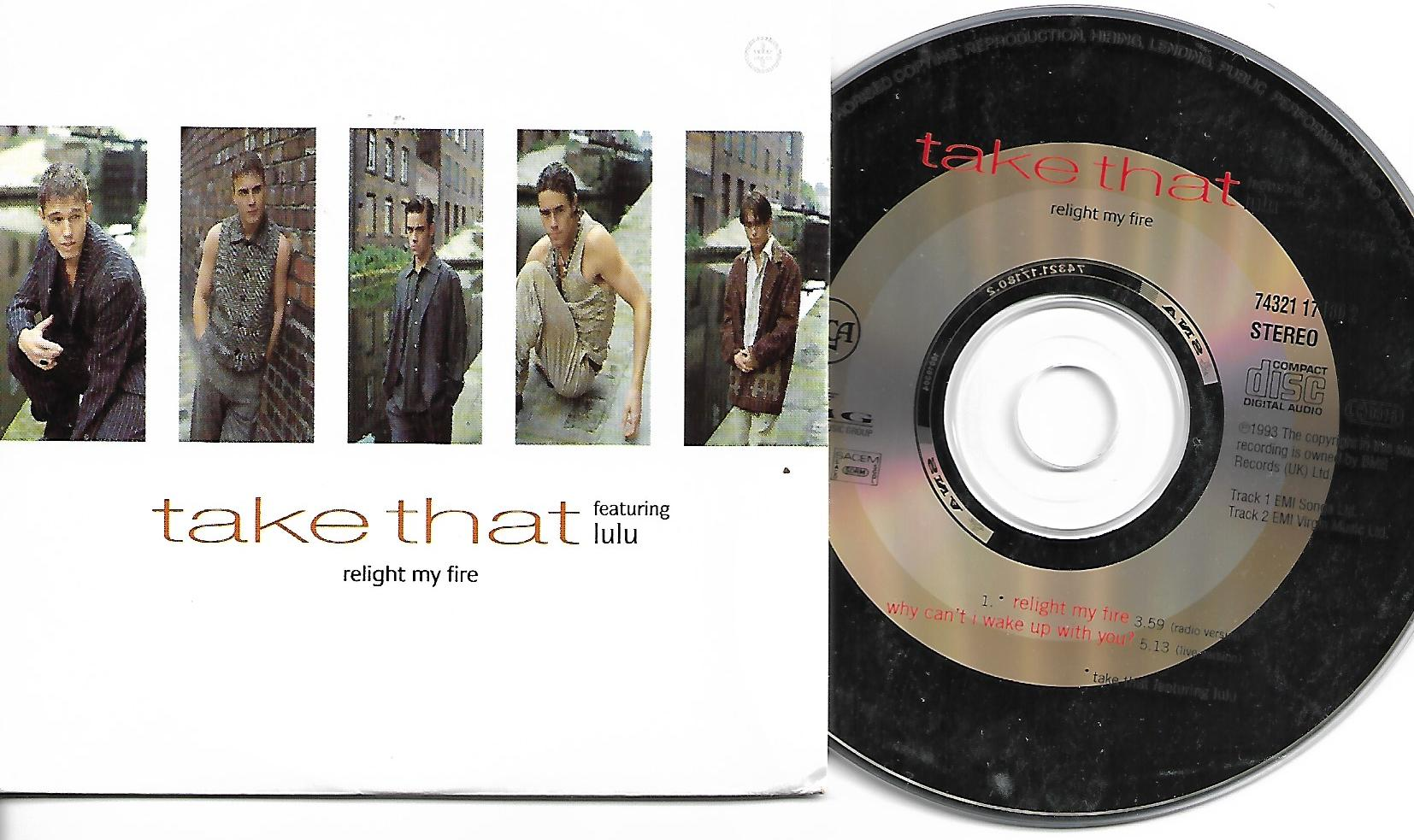 TAKE THAT &amp; LULU - Relight My Fire Card Sleeve 2 Tracks